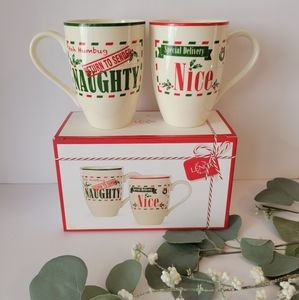 Lenox Hosting the Holidays Naughty & Nice mugs set of 2